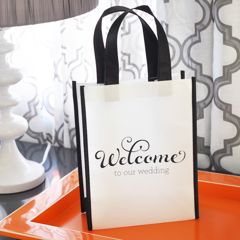 Black and White Wedding Welcome Bags