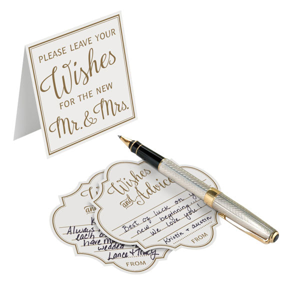 Ivory and Gold Wedding Wish and Advice Cards