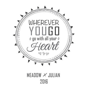 Personalized Wherever You Go, Go with Your Heart Wedding Aisle Runner