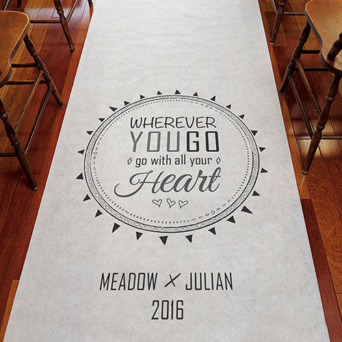 Personalized Free Spirit Wedding Aisle Runner - Wherever You Go, Go with Your Heart