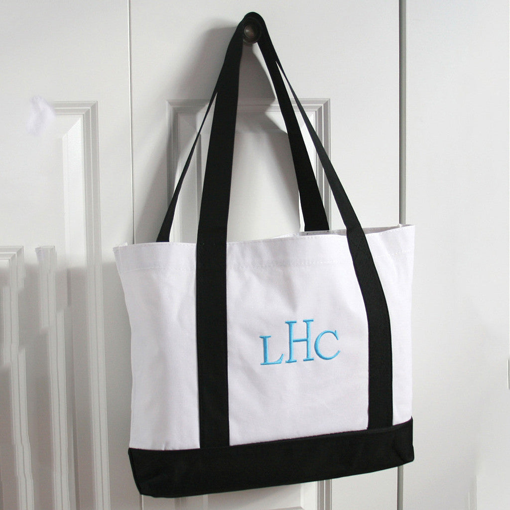 White and Black Monogram Canvas Tote Bag