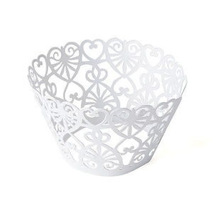 Heart Cupcake Wrappers - Laser Cut Lace Hearts (Pack of 12)