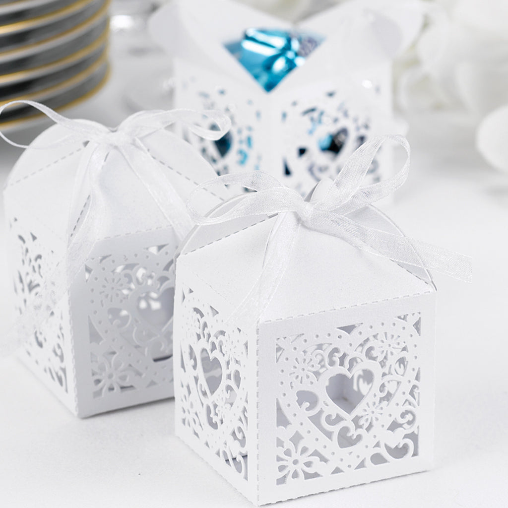 White Die Cut Heart Wedding Party Favor Box