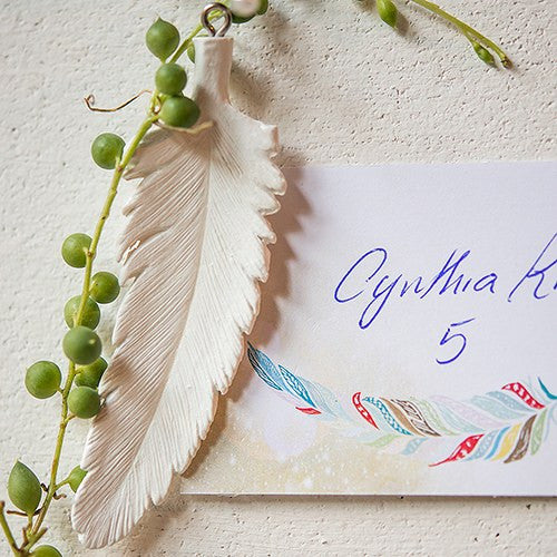 Place Card Bohemian Feather Ornament Assortment (Set of 12)