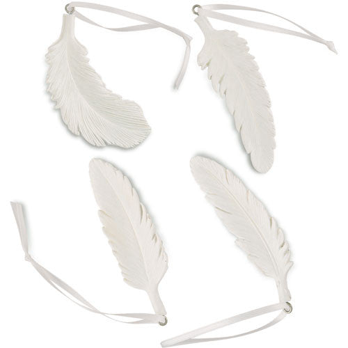 White Feather Ornament Assortment (Set of 4)