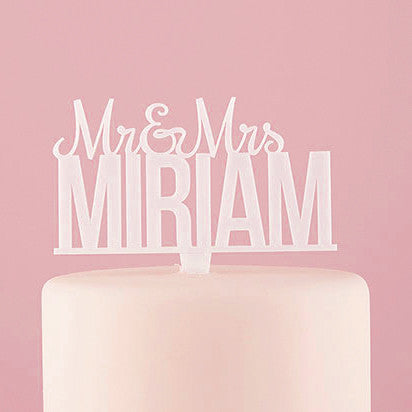 Personalized Mr. And Mrs. Acrylic Wedding Cake Top - White