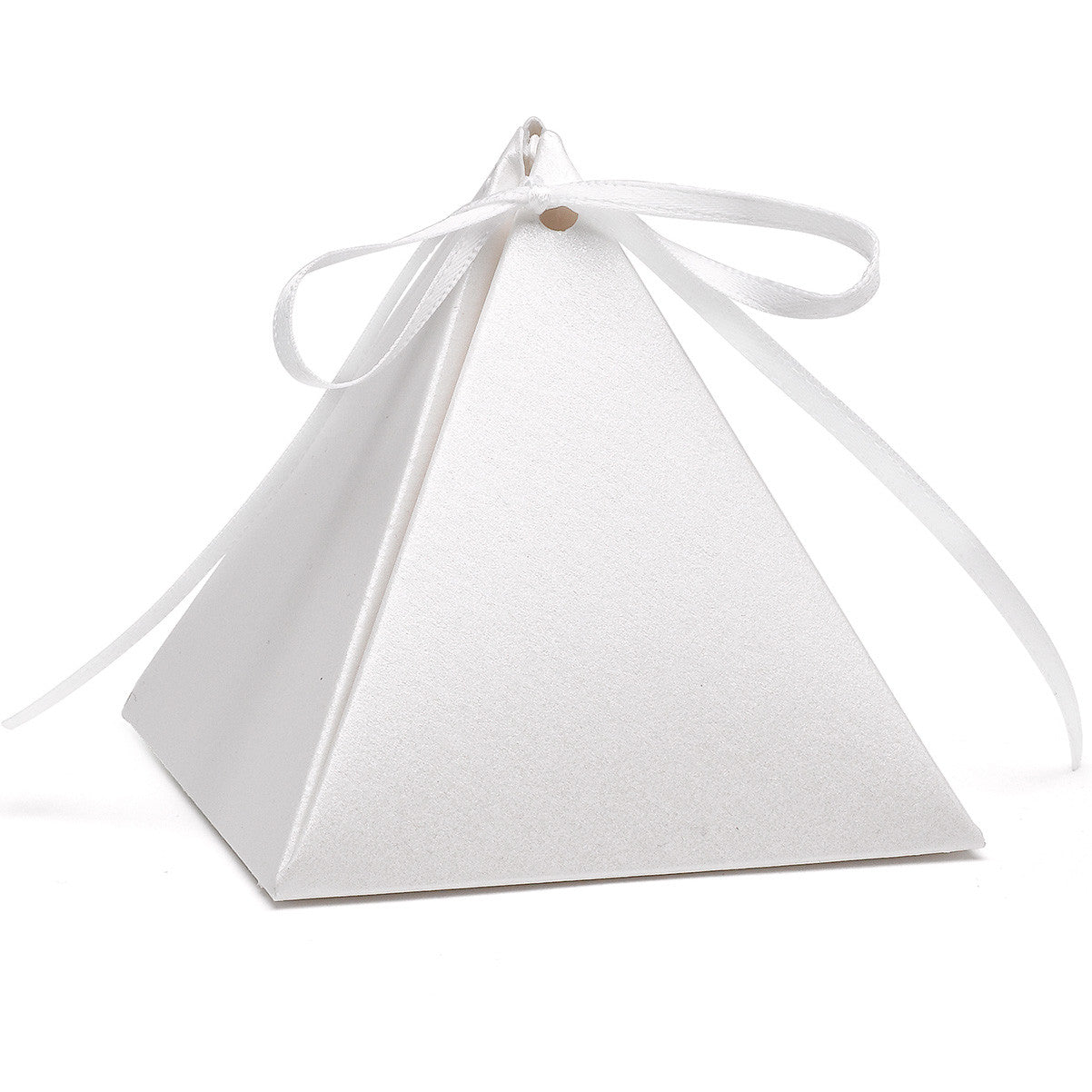 White Shimmer Pyramid Wedding Party Favor Box (Pack of 25) – Candy ...