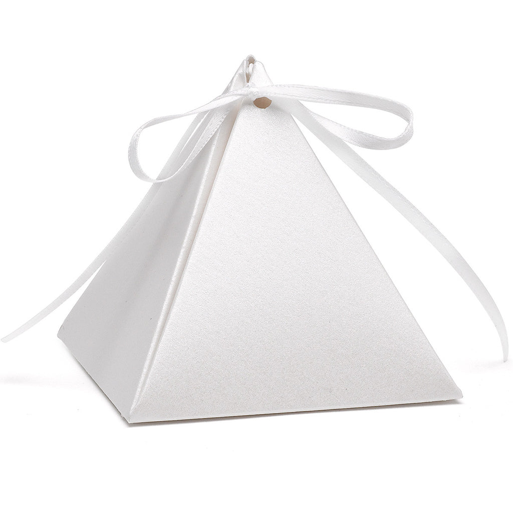 White Shimmer Pyramid Wedding Party Favor Box