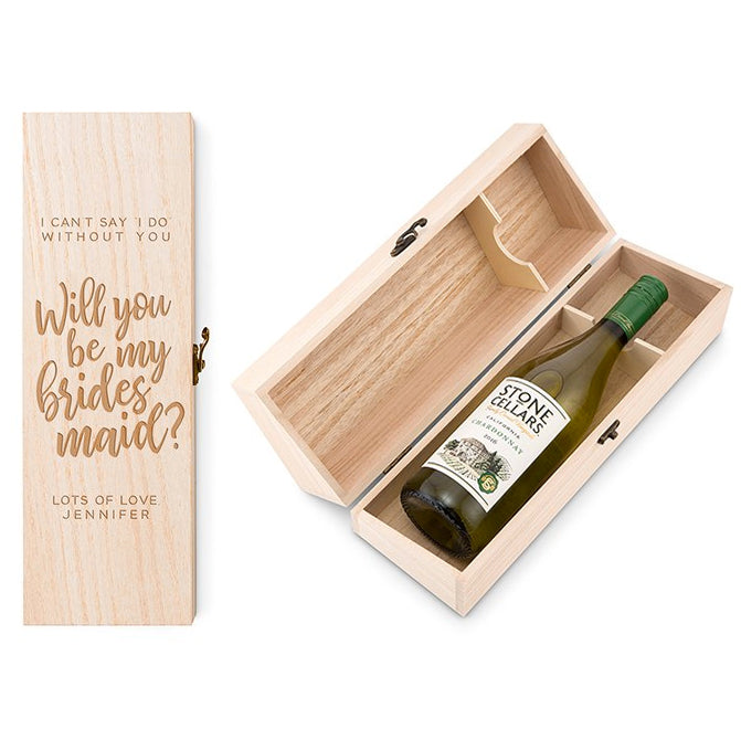 Will You Be My Bridesmaid? Personalized Bottle Wine Gift Box