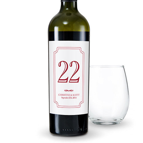 Custom Classic Table Number Glass Bottle Sticker Label