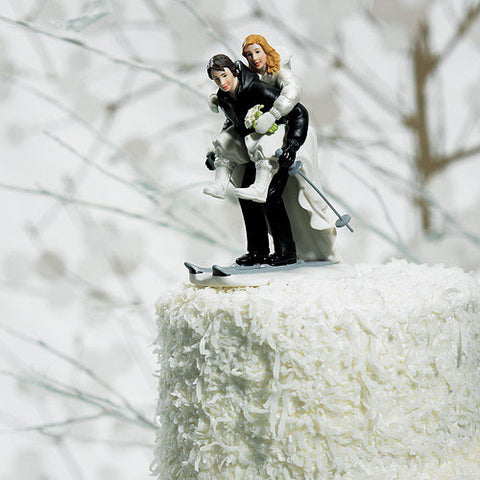 Winter Skiing Couple Wedding Cake Top