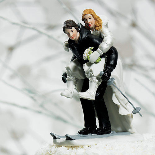 Winter Wedding Bride & Groom Skiing Couple Wedding Cake Topper