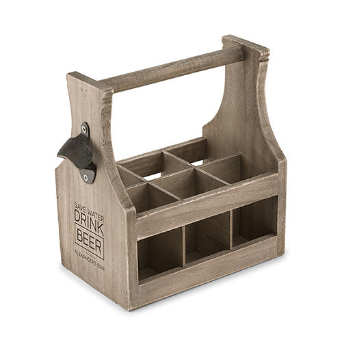 Personalized Wooden 6-Pack Bottle Caddy with Bottle Opener