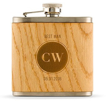 Personalized Etched Circle Monogram Wood Flask