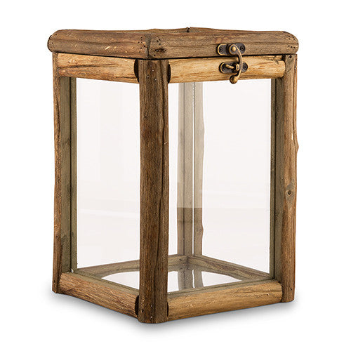 Rustic Wood And Glass Box with Lid