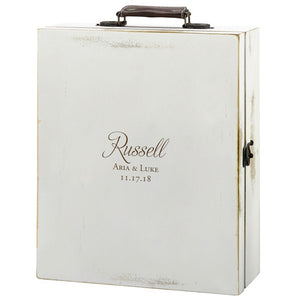 Personalized Script Antique White Box Bottle Storage Gift Box