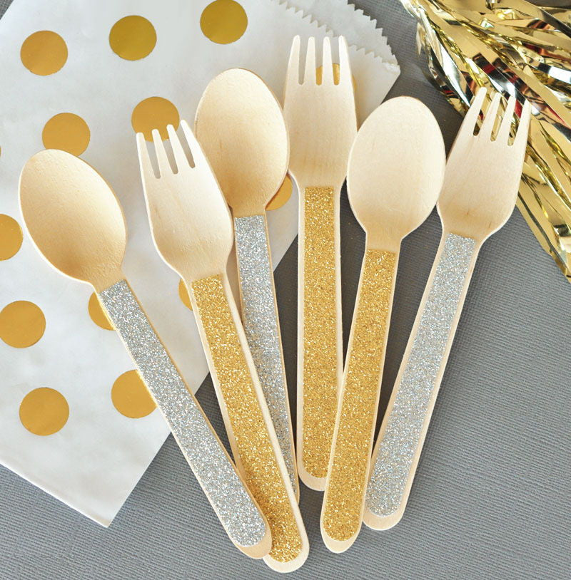 Glitter Wooden Spoons & Forks Wedding Party Favors