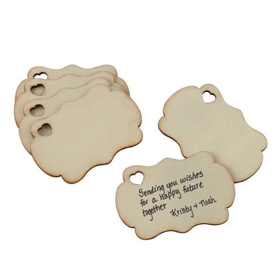 Wooden Wedding Party Guest Signing Tags (Pack of 36)