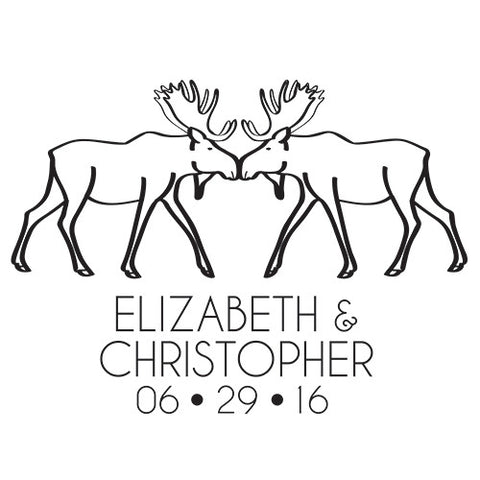 Personalized Woodland Moose Rubber Stamp