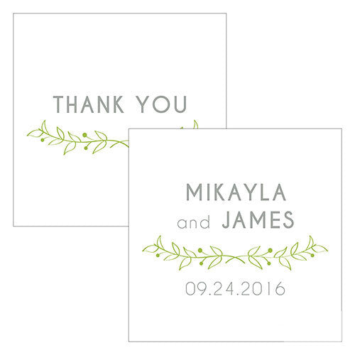 Personalized Woodland Square Wedding Favor Tag - Green