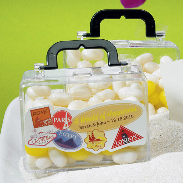Personalized World of Happiness Wedding Favor Sticker on the Mini Suitcase Wedding Party Favor (not included).
