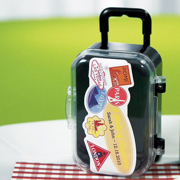 Personalized World of Happiness Wedding Favor Sticker on the Mini Travel Trolley Wedding Party Favor (not included).