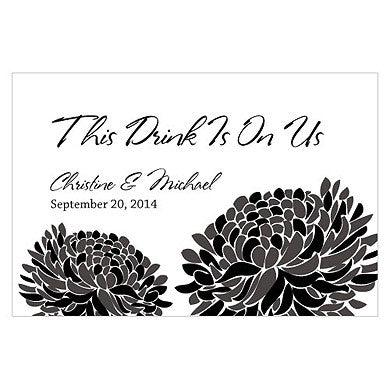 Zinnia Bloom Drink Ticket in Black and Grey