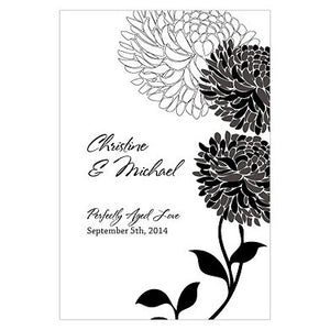 Black Zinnia Bloom Wine Label personalized with the bride and groom's name and wedding date.
