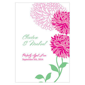 Fuchsia Zinnia Bloom Wine Label personalized with the bride and groom's name and wedding date.