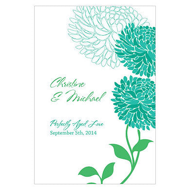 Peacock Green Zinnia Bloom Wine Label personalized with the bride and groom's name and wedding date.