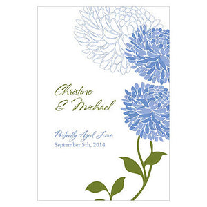 Periwinkle Blue Zinnia Bloom Wine Label personalized with the bride and groom's name and wedding date.