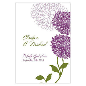 Plum Zinnia Bloom Wine Label personalized with the bride and groom's name and wedding date.
