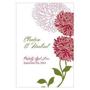 Ruby Red Zinnia Bloom Wine Label personalized with the bride and groom's name and wedding date.