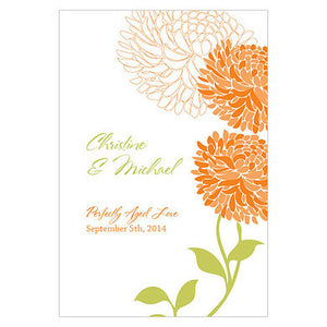 Tangerine Orange Zinnia Bloom Wine Label personalized with the bride and groom's name and wedding date.