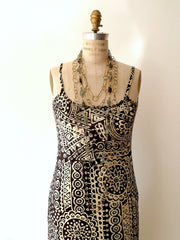 Batik Beach Dress in Indonesia Black Cream