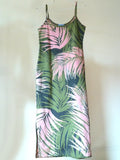 Batik Beach Dress Palm In Pink Green Grey