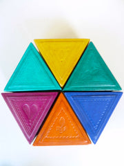 Boxes Tooled African Leather Triangle