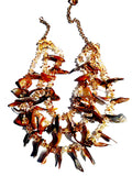 Necklace Triple Strand Citrine Quartz And Shell