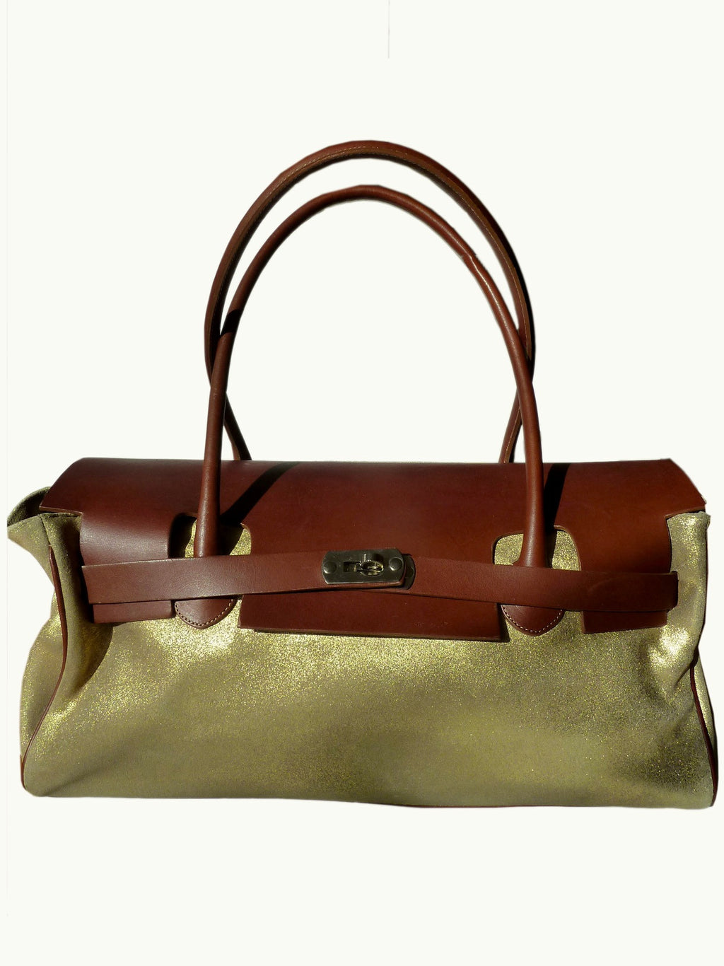 Chatona Large Satchel Gold Suede And Saddle Leather