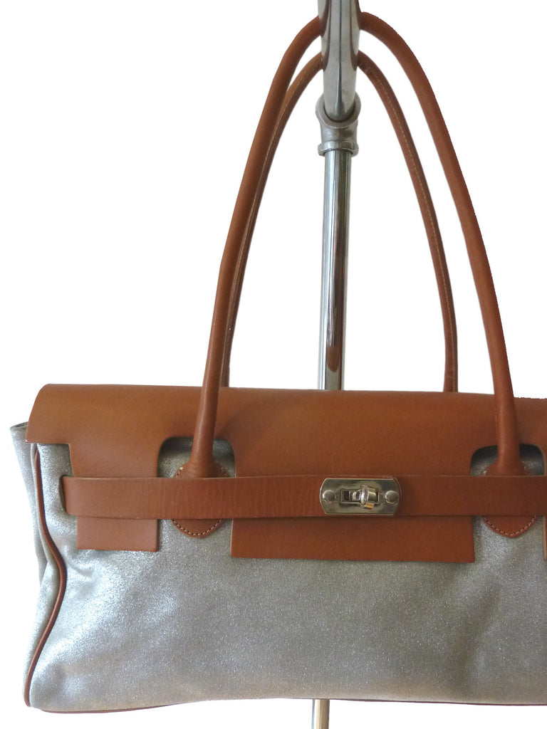 Chatona Large Satchel Silver Suede And Saddle Leather