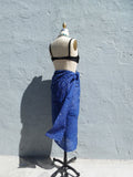 Crinkle Cotton Pareo Sarong In Navy Blue