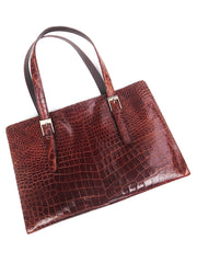 Crocodile Box Tote Chocolate