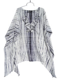 Silk Caftan Tunic With Ruffle Black And White Shibori