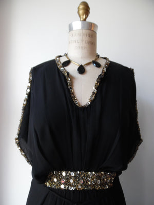 Cleopatra Long Black Dress With Sequins