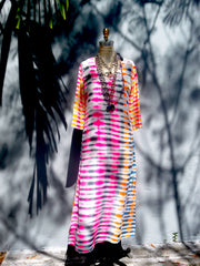 Maxi Tunic Beach Dress In Shibori Tie Dye