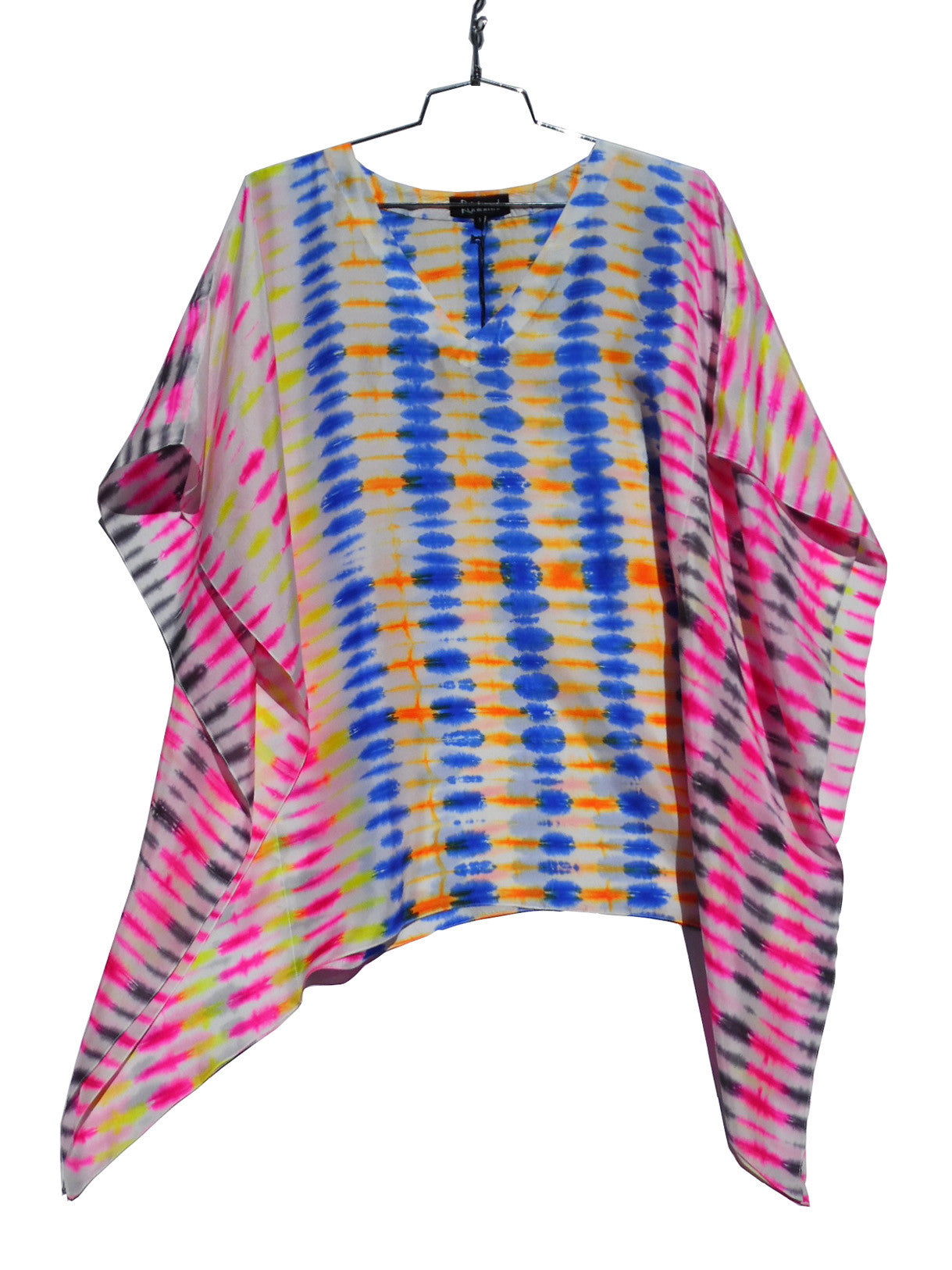 Silk Caftan Tunic In Bright Shibori Tie Dye