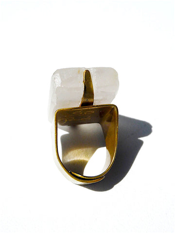 Ring Hand Cast French Glass Diana The Hunter White