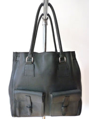 Doble Tote Bag Pebble Grain Leather Black Or Moss