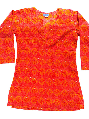 Raja Cotton Tunic Orange Melange