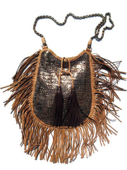 Hand Woven Leather Shoulder Cross Body Bag with Contrast Tassel